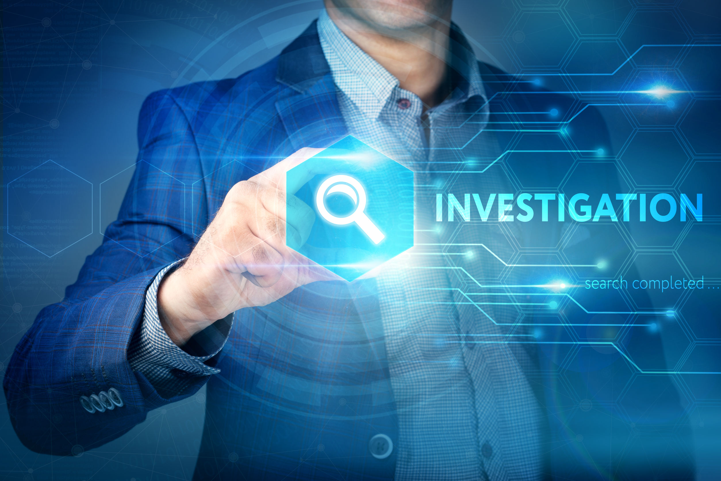 Business, internet, technology concept. Businessman chooses Investigation button on a touch screen interface.